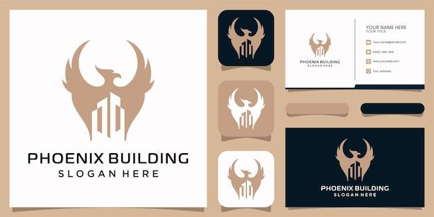 Phoenix gebouw logo, adelaar en vogel logo-symbool.