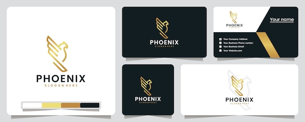 Phoenix, gouden, luxe, logo-ontwerpinspiratie