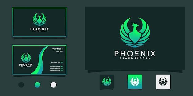 Phoenix-logo met coole gradiëntstijl, vleugel, adelaar en visitekaartje premium vector