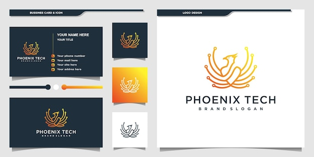 Phoenix-logo met technologie lijntekeningen concept en visitekaartje premium vecto