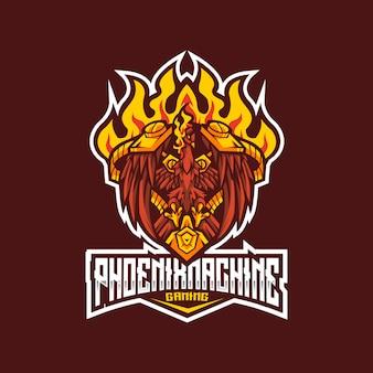 Phoenix machine esport logo sjabloon