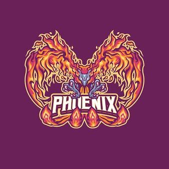 Phoenix mascot-logo voor esport- en sportteam