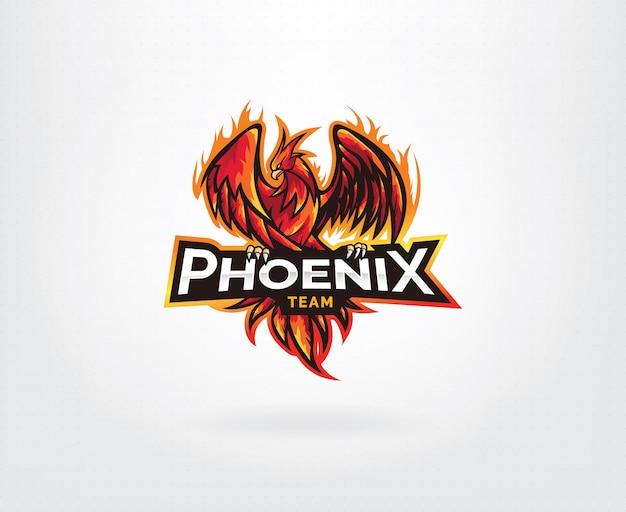 Phoenix mascotte karakter logo ontwerp
