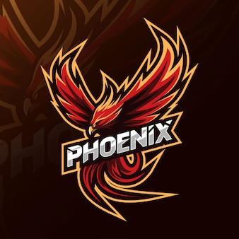 Phoenix mascotte logo esport ontwerp