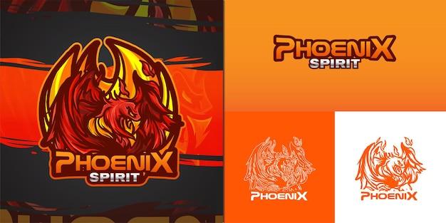 Phoenix mascotte logo voor e-sport illustratie
