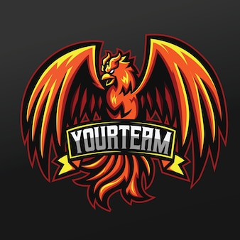 Phoenix orange bird mascot sport afbeelding ontwerp voor logo esport gaming team squad