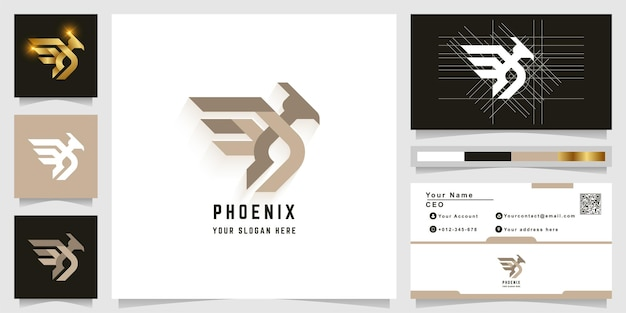 Phoenix vogel monogram logo sjabloon met visitekaartje ontwerp
