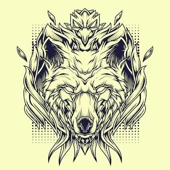 Phoenix wolves line art illustratie