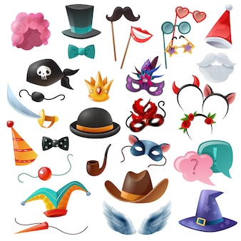 Photo Booth Party Icons Set