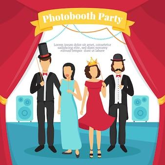 Photo booth party met mensen toneelmuziek en gordijnen
