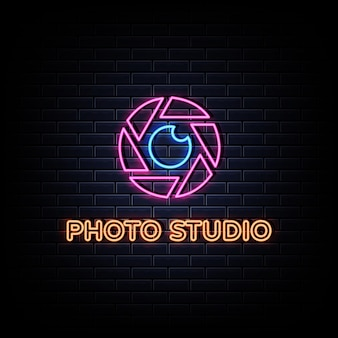 Photo studio neon signs style text