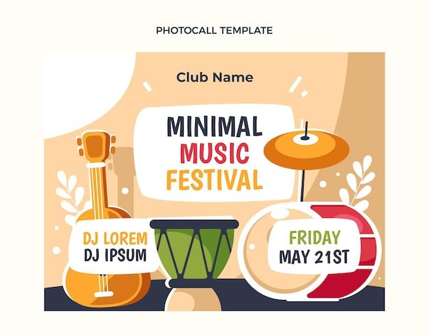 Photocall voor minimalistisch muziekfestival met plat ontwerp
