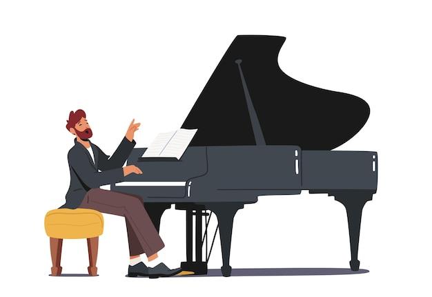 Pianist personage in concertkostuum spelen muzikale compositie op piano