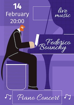 Piano live concert flat vector poster sjabloon