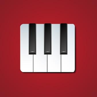 Piano toetsen pictogram met slagschaduw