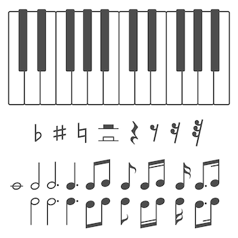 Pianosleutels en notities illustratie