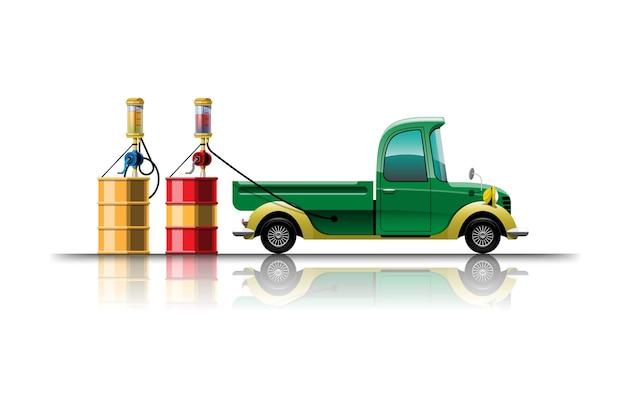 Pick-up auto in cartoon-ontwerp om te tanken vanuit de tank bij het tankstation