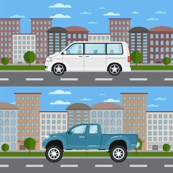 Pick-up en minibus in stedelijk landschap