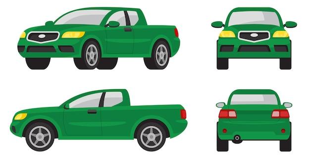 Pick-up truck in verschillende hoeken. groene auto in cartoon-stijl.