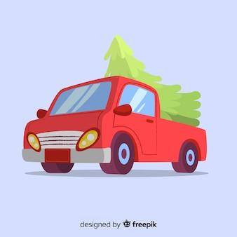 Pick-up truck met kerstboom