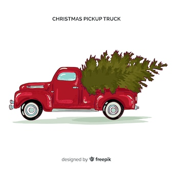 Pick-up truck met kerstboom