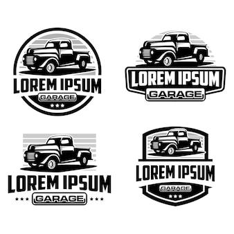 Pick-up truck, truck badge logo sjabloon