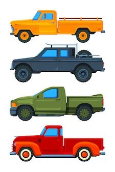 Pick-up trucks. verschillende soorten transport