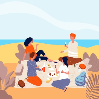 Picknick aan zee. familie ontspannen op zomer strand buiten mensen drank diner grappige volwassenen picknick platte karakters