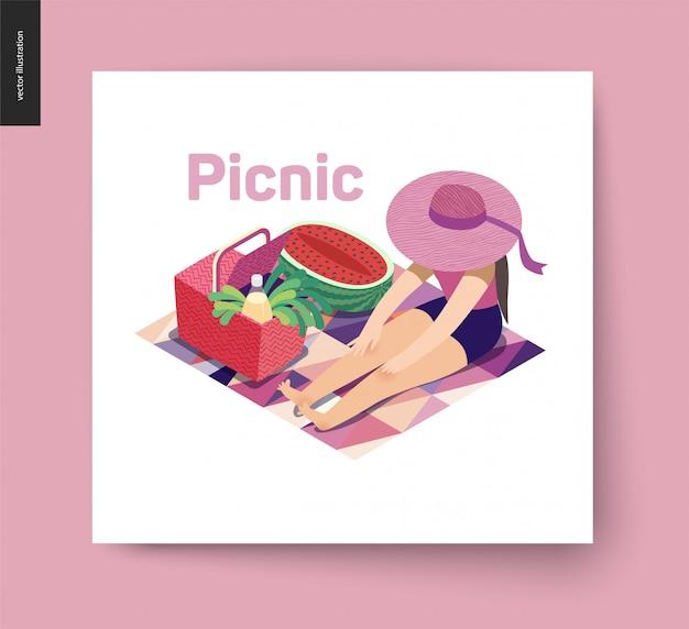 Picknick afbeelding zomer ansichtkaart