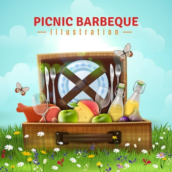 Picknick barbecue illustratie