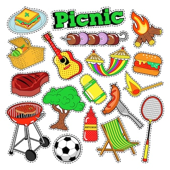 Picknick bbq doodle stickers, insignes, patches voor scrapbooking.
