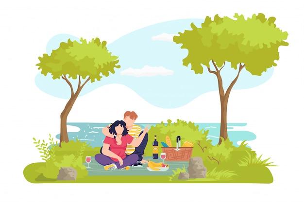 Picknick bij zomeraard, man vrouw verliefd illustratie. koppel samen in het park, gelukkige mensen karakter op buiten gras. jonge gezinslevensstijl, romantisch weekendafspraakje met eten.