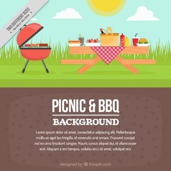 Picknick en barbecue viering achtergrond in plat design
