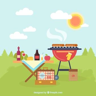 Picknick en bbq op het platteland