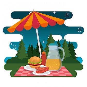 Picknick feest feest scène