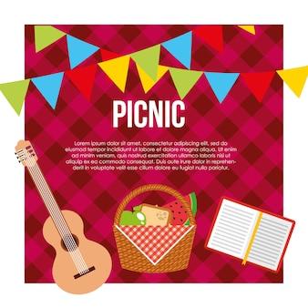Picknick feest scène pictogram