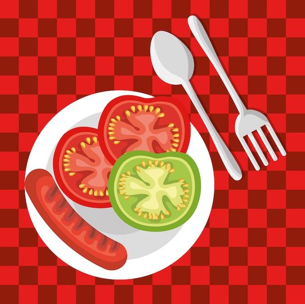Picknick feest uitnodiging set pictogrammen