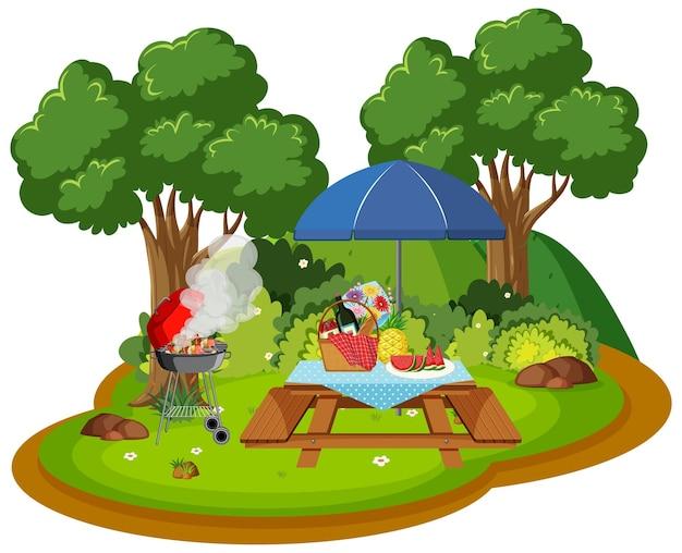 Picknick in de natuurscène