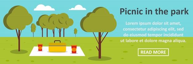 Picknick in het horizontale concept van de parkbanner