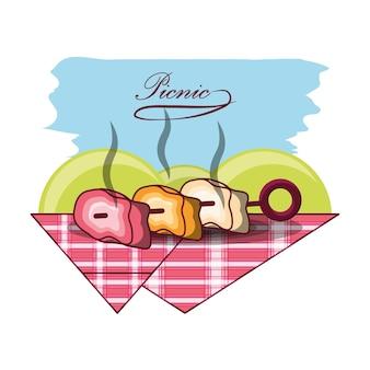 Picknick ontwerp met gegrild vlees brochette pictogram