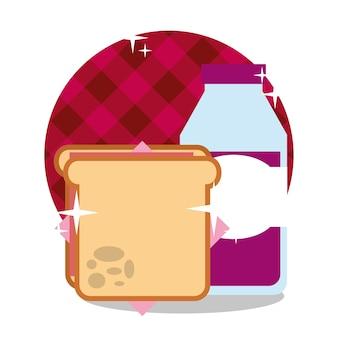 Picknick sandwich en druivensap in fles