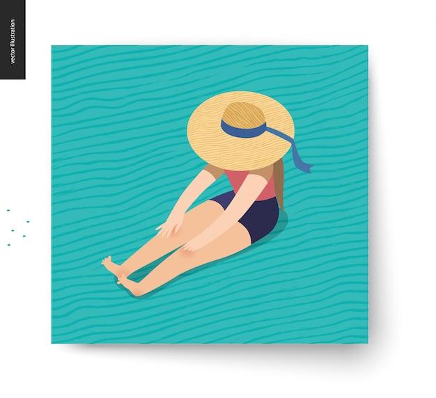 Picknickbeeld - vlakke beeldverhaal vectorillustratie van meisjeszitting op de vloer met een hoed van het lintstrand bij het verbergen van haar gezicht