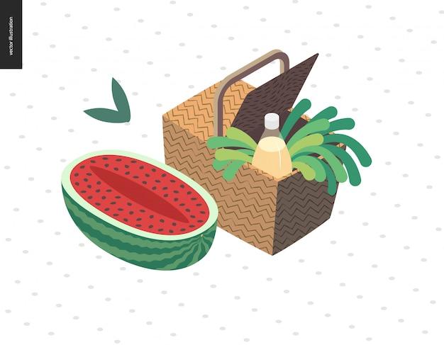 Picknickbeeld - vlakke beeldverhaal vectorillustratie van picknick rieten mand met limonadefles