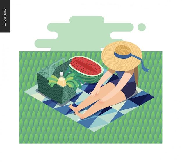 Picknickillustratie van meisjeszitting in het gras met zonhoed, picknick rieten mand, limonade