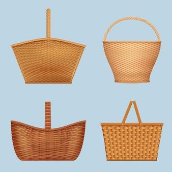 Picknickmand. handgemaakte decoratieve containers voor natuurvoeding vector lege houten mand vector realistische collectie. mandmand voor ontspanning in de buitenlucht, picknick en bbq-illustratie