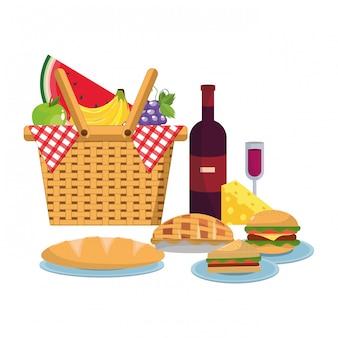 Picknickmand met voedsel