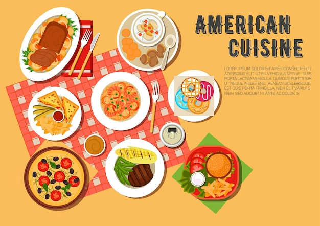 Picknickmenu van de amerikaanse keuken met cheeseburger, warme broodjes, geserveerd met frietjes en sauzen, vegetarische pizza