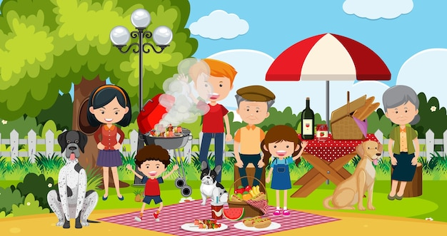 Picknickscène met gelukkige familie in de tuin