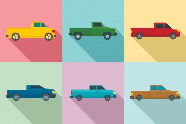 Pickup iconen set, vlakke stijl