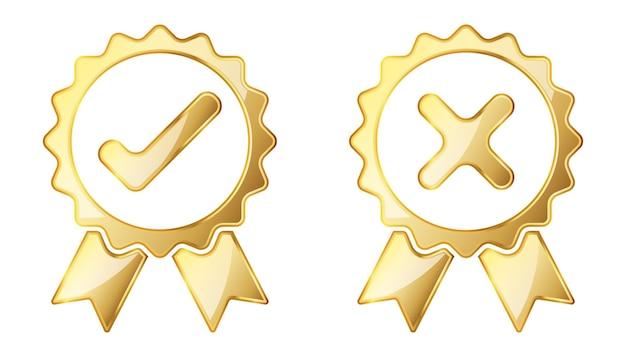 Pictogram controleren en weigeren. gouden illustratie. goud goedgekeurd teken. weigeren symbool